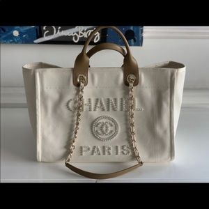 Authentic CHANEL Deauville Tote with pearls